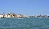Dorsodoro in Venice taken from Giudecca across the Giudecca Canal. Campanile di San Marco and Santa Maria Della Salute are on the left, and San Giorgio Maggiore on the right