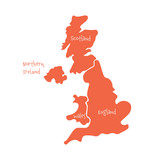United Kingdom, aka UK, of Great Britain and Northern Ireland hand-drawn blank map. Divided to four countries - England, Wales, Scotland and NI. Simple flat vector illustration. - 177098971