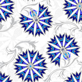 Seamless pattern with stylized cornflower. Vector hand-drawn floral background.