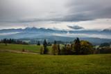 Panorama of Tatra mountains (Havran and Zdiarska Vidla) at autumn in sunny day from Lapszanka, Poland