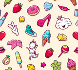 Graffiti seamless pattern with girlish style doodles. Vector background with childish girl power crazy elements. Trendy linear style collage for kids with bizarre icons. - 177101738
