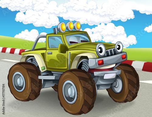 Foto op Plexiglas Draken cartoon scene with happy smiling monster truck on the race track illustration for the children