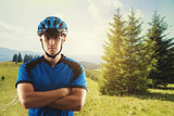 cyclist portrait on a background of a picturesque mountain landscape