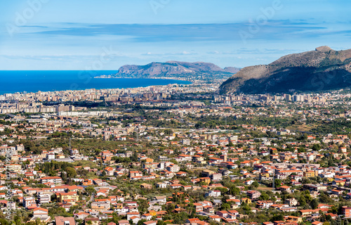 Aluminium Palermo Panoramic view of Palermo city and mediterranean sea coast around, Italy