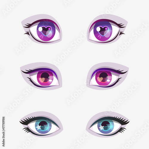 Beautiful cartoon colorful eyes set. - 177109186