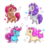 Little cute vector pony set. - 177109703