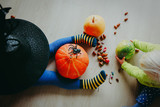 Halloween preparation. Kids making crafts from natural materials - 177112773
