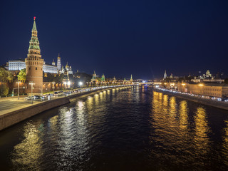 Night panorama of the Kremlin and Moscow River