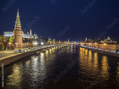 Night panorama of the Kremlin and Moscow River Poster