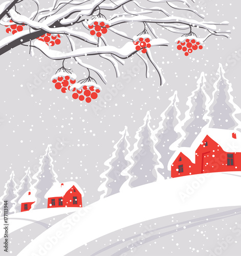 Fotobehang Wit Vector white winter landscape with branches and bunches of rowan tree, with village and red houses on the snowing hill