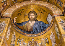 "Постер, картина, фотообои ""Detail of the mosaic inside Cathedral of Monreale near Palermo, Sicily, Italy"""