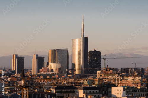 Papiers peints Milan Skyline with new skyscrapers, Milan Italy