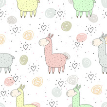 Cute seamless pattern with funny llama. vector illustration