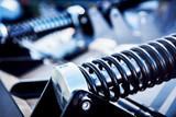 Black metal spring. Railway industry - 177123582
