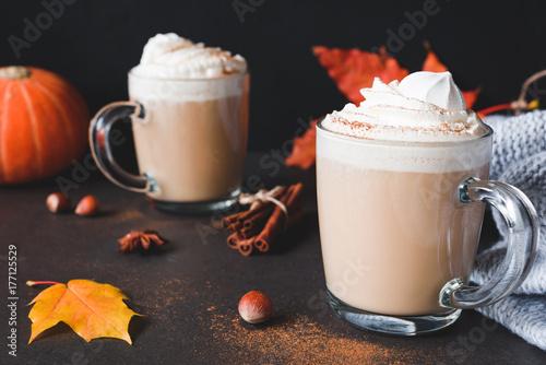 Foto op Aluminium Milkshake Hot Chocolate with Whipped Cream and Cinnamon on dark stone table. Closeup view, horizontal