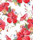 Watercolor tropical floral pattern - 177131398