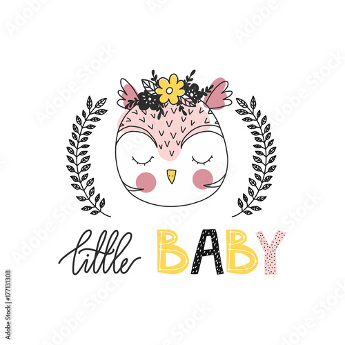 Print for nursery. Scandinavian style baby print. Hand drawn vector illustration with owl. Vector lettering. - 177131308