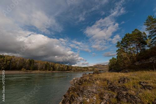 turquoise mountain Katun river with rocky shores