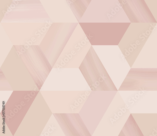 Geometry hexagonal abstract seamless pattern in beige/nude theme with glitter - 177138749