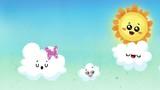 Cielo infantil con nubes y sol - 177139569