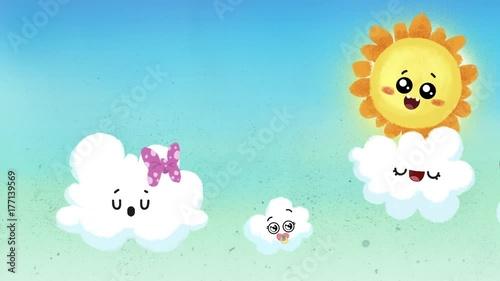 Cielo infantil con nubes y sol