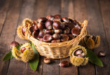 Fresh chestnuts in the basket - 177140318