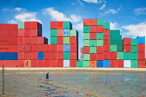 Aluminium Stacked cargo containers.