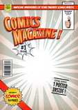 Comic Book Cover Template/Illustration of a cartoon editable comic book cover template, with super hero character flying, titles and subtitles to customize, and wrong bar code and label - 177143349
