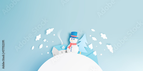 Staande foto Lichtblauw Snowman and Winter landscape with paper art style and pastel color scheme