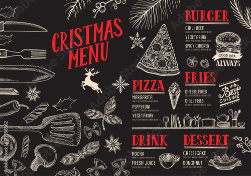 Christmas menu food template for restaurant. - 177156562