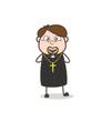 Cartoon Priest Feeling Very Happy Vector Concept
