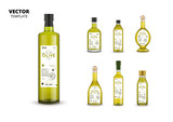 Natural extra virgin olive oil realistic glass bottles with labels. Layout of food identity branding, modern packaging design. Traditional healthy product, organic vegan nutrition vector illustration - 177158572