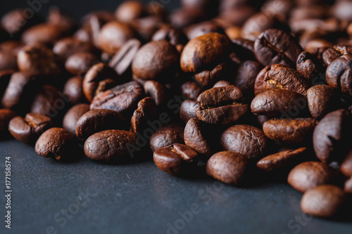 Coffee beans of popular drinks with filter effect retro vintage style