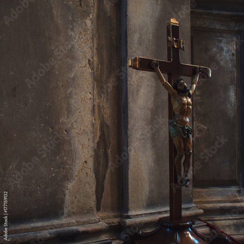 Crucifixion of Jesus in the interior of Italian churches Poster