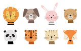 Cartoon cute animals for baby cards. Vector illustration. Lion, dog, bunny, bear, panda, tiger, cat, fox.