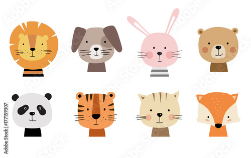 obraz PCV Cartoon cute animals for baby cards. Vector illustration. Lion, dog, bunny, bear, panda, tiger, cat, fox.