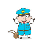 Funny Postman Character Teasing with Stuck-Out Tongue - 177160396