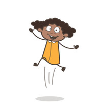 Funny Joyful Girl Jumping In Excitement  Sticker