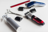 styling hair sprays, clippers, comb and scissors - 177166187
