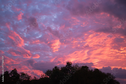 Aluminium Big Sky Sunrise with Pink and Purple Clouds