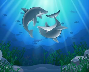 Dolphin cartoon with underwater view and coral background. Vector Illustration.