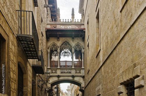 Old street of Barrio Gotico in Barcelona