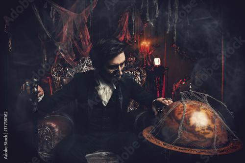 mysterious gloomy man
