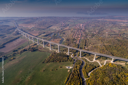 Viaduct with autumn nature Poster