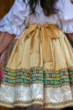Detail of traditional Slovak folk costume worn by women - 177189337