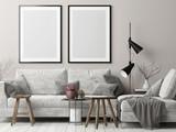Mock up posters in Nordic hipster living room, 3d render, 3d illustration - 177190992
