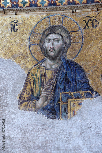 Byzantine mosaic of Christ Poster