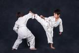 two boys of the karateka in a white kimono battle or train - 177202929