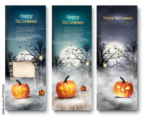 Group of Halloween banners with pumpkins and moon. Vector.