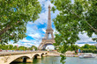 The Eiffel Tower and the river Seine in Paris on a summer day